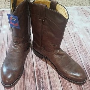 Justin Classic Roper Boys Brown Cowboy Shoes